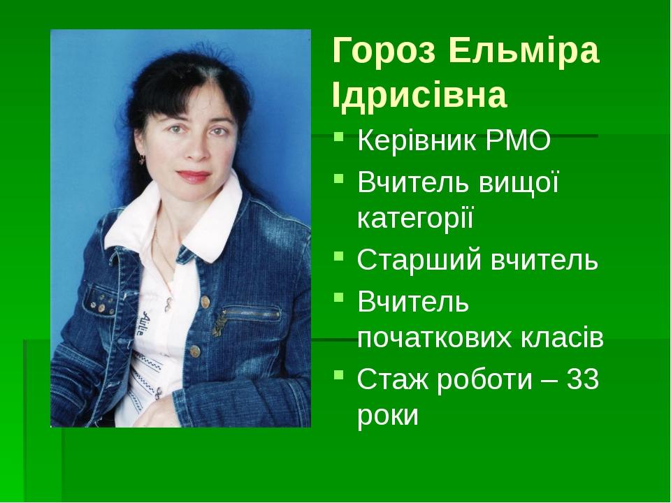 Гороз Ельміра Ідрисівна Керівник РМО Вчитель вищої категорії Старший вчитель...