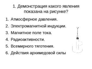 1. Демонстрация какого явления показана на рисунке? Атмосферное давления. Эле