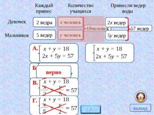 340 А. 15х + 10(х – 4) = 340 Б. 10х + 15(х + 4) = 340 В. 10х + 15(х – 4) = 34