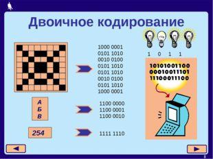 * Двоичное кодирование 1000 0001 0101 1010 0010 0100 0101 1010 0101 1010 0010