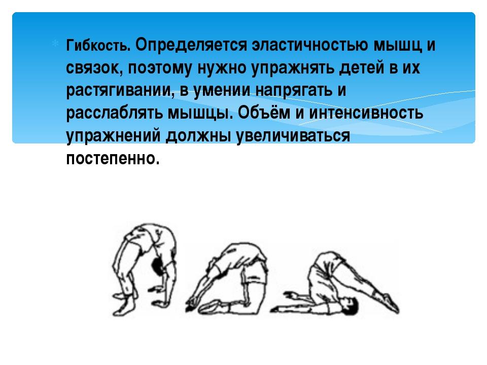Гибкость. Определяется эластичностью мышц и связок, поэтому нужно упражнять д...