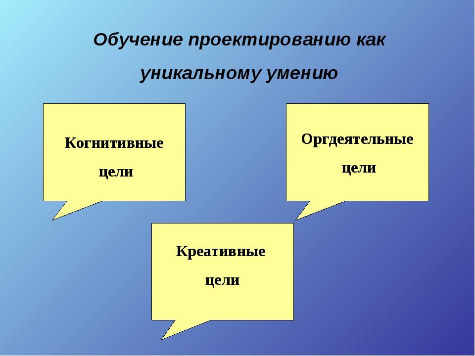 Обучение проектированию как уникальному умению Когнитивные цели Оргдеятельные...