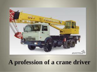 A profession of a crane driver
