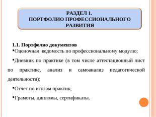 1.1. Портфолио документов Оценочная ведомость по профессиональному модулю; Дн