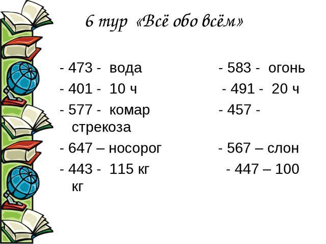6 тур «Всё обо всём» - 473 - вода - 583 - огонь - 401 - 10 ч - 491 - 20 ч - 5...