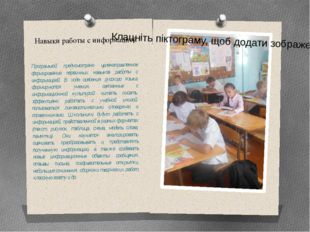 Навыки работы с информацией Программой предусмотрено целенаправленное формиро