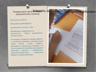 Формирование представлений о грамматических понятиях Важная роль отводится фо