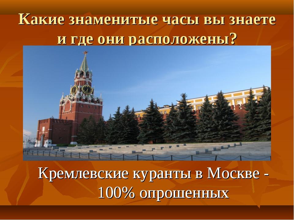 Какие знаменитые часы вы знаете и где они расположены? Кремлевские куранты в...