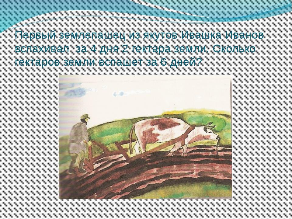 Первый землепашец из якутов Ивашка Иванов вспахивал за 4 дня 2 гектара земли....