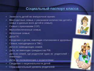 Социальный паспорт класса Занятость детей во внеурочное время; Многодетные се