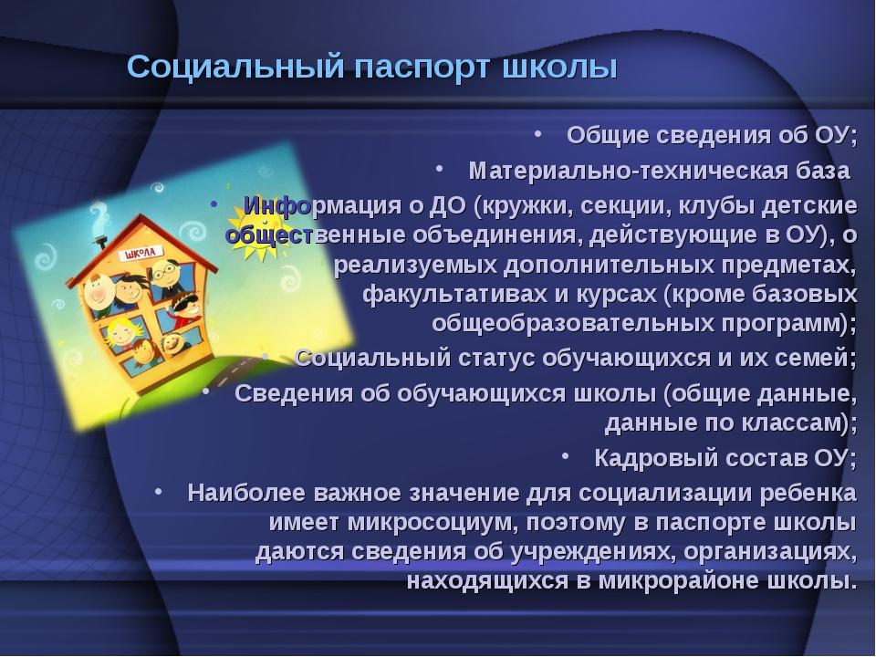 Социальный паспорт школы Общие сведения об ОУ; Материально-техническая база И...