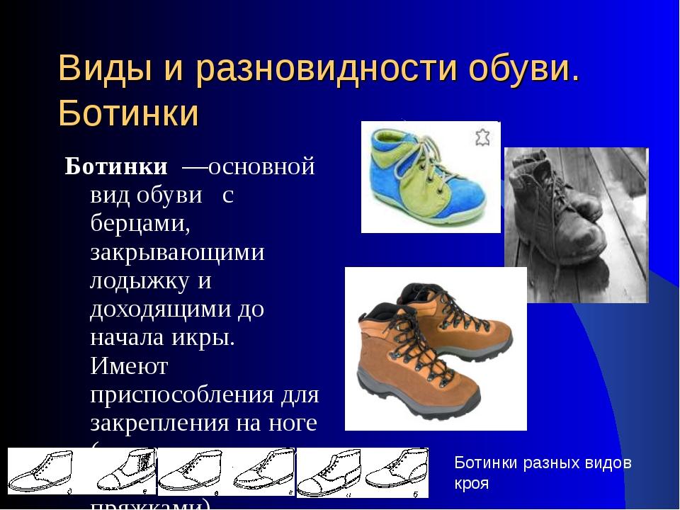 Виды и разновидности обуви. Ботинки Ботинки —основной вид обуви с берцами, за...