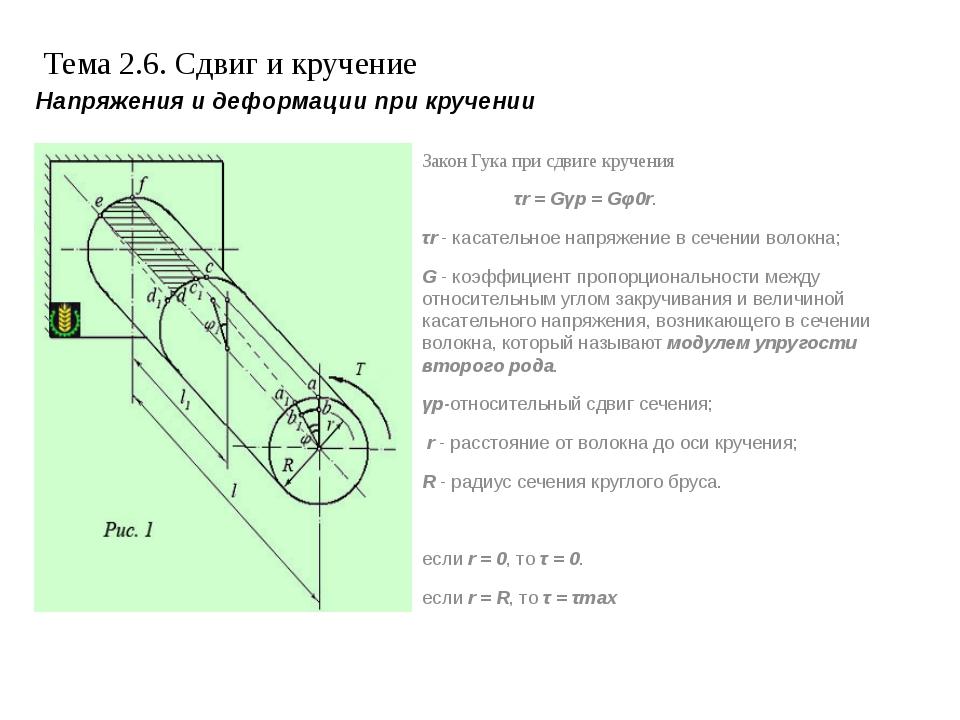 Тема 2.6. Сдвиг и кручение Закон Гука при сдвиге кручения τr= Gγр= Gφ0r. τr...