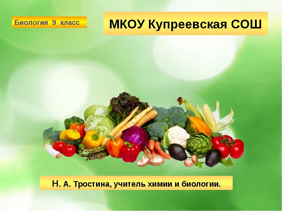 МКОУ Купреевская СОШ Н. А. Тростина, учитель химии и биологии. Биология 9 класс