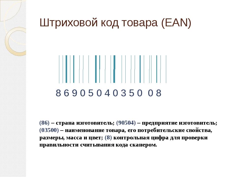 Штриховой код товара (EAN) 8 6 9 0 5 0 4 0 3 5 0 0 8 (86) – страна изготовите...