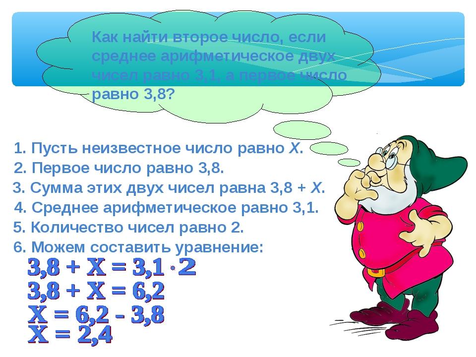 4. Среднее арифметическое равно 3,1. 5. Количество чисел равно 2. 1. Пусть не...