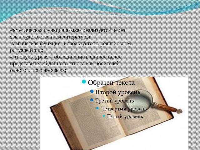 -эстетическая функция языка- реализуется через язык художественной литературы...