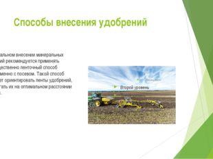 Способы внесения удобрений При локальном внесении минеральных удобрений реко