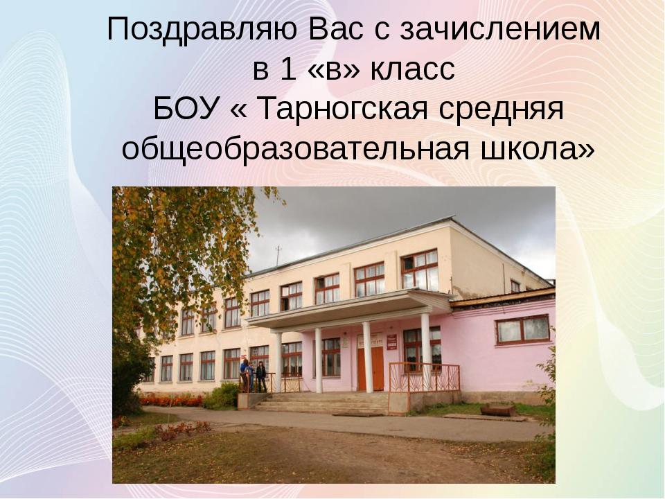 Поздравляю Вас с зачислением в 1 «в» класс БОУ « Тарногская средняя общеобраз...