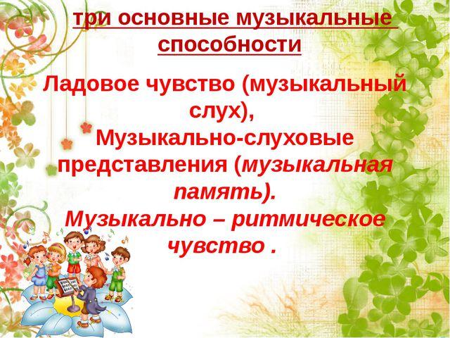 Ладовое чувство (музыкальный слух), Музыкально-слуховые представления (музыка...