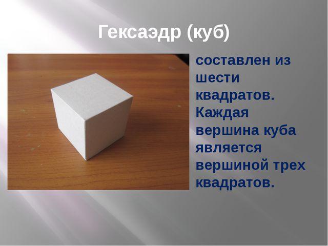 Гексаэдр (куб) составлен из шести квадратов. Каждая вершина куба является вер...