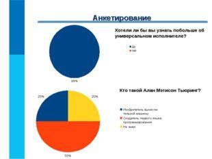 Анкетирование Кто такой Алан Мэтисон Тьюринг? Хотели ли бы вы узнать побольше