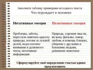Заполните таблицу примерами исходного текста Сформулируйте своё определение с