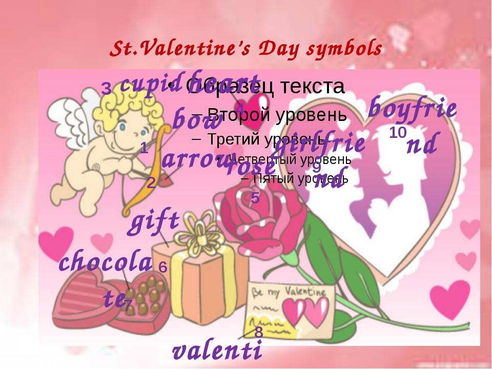 St.Valentine's Day symbols 2 3 4 5 6 7 8 9 10 cupid bow boyfriend girlfriend...