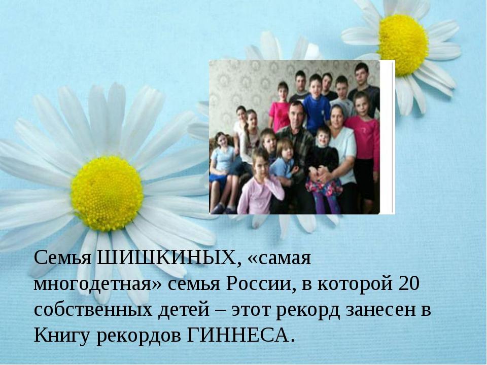 Семья ШИШКИНЫХ, «самая многодетная» семья России, в которой 20 собственных де...