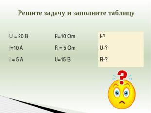 Решите задачу и заполните таблицу U = 20 B R=10 Om I-? I=10 A R = 5 Om U-? I