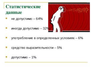 Статистические данные не допустимо – 64% иногда допустимо – 32% употребление
