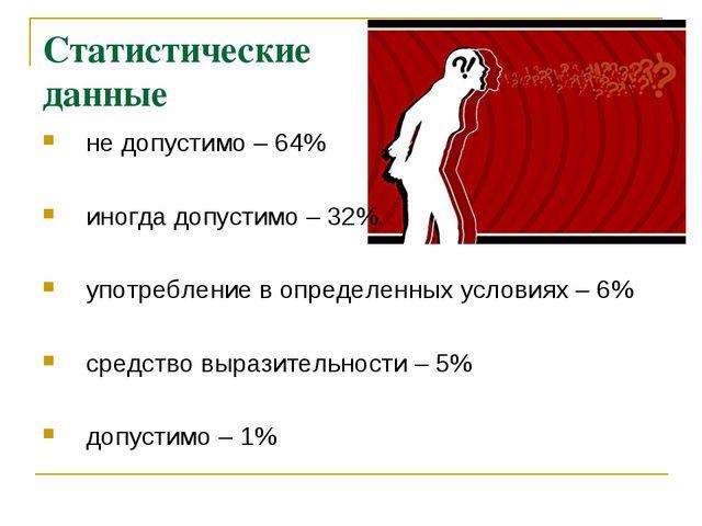 Статистические данные не допустимо – 64% иногда допустимо – 32% употребление...