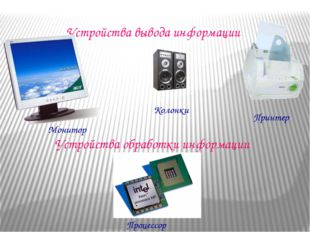 Устройства вывода информации Устройства обработки информации Процессор Колонк