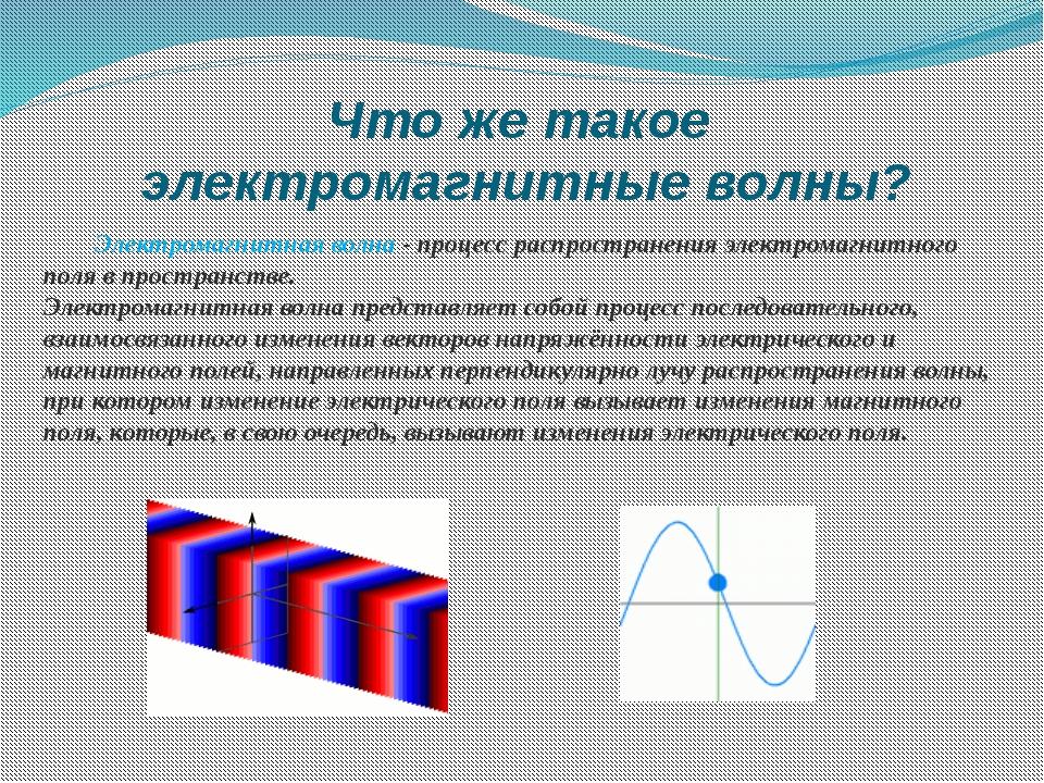 Что же такое электромагнитные волны? Электромагнитная волна - процесс распрос...