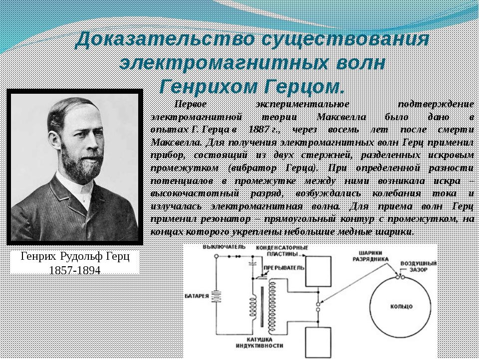 Доказательство существования электромагнитных волн Генрихом Герцом. Первое эк...