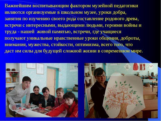 Важнейшим воспитывающим фактором музейной педагогики являются организуемые в...