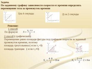 Задача. По заданному графику зависимости скорости от времени определить перем
