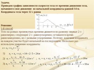 Задача. Приведен график зависимости скорости тела от времени движения тела, н