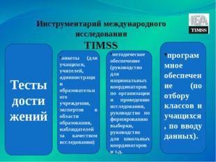 Инструментарий международного исследования TIMSS Тесты достижений анкеты (для