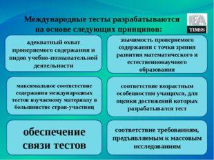 Международные тесты разрабатываются на основе следующих принципов: адекватны