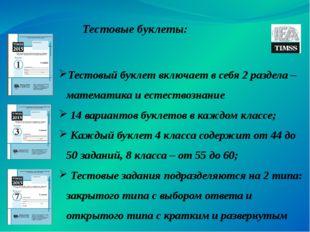 Тестовые буклеты: Тестовый буклет включает в себя 2 раздела – математика и е