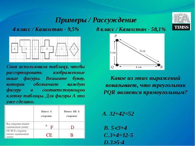 Примеры / Рассуждение 4 класс / Казахстан - 9,5% Соня использовала таблицу, ч...