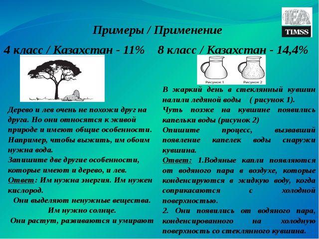 8 класс / Казахстан - 14,4% 4 класс / Казахстан - 11% Примеры / Применение Де...