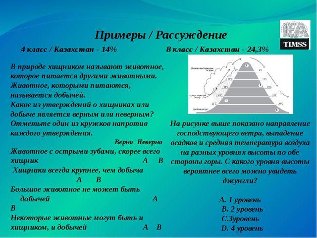 Примеры / Рассуждение 4 класс / Казахстан - 14% 8 класс / Казахстан - 24,3% В...