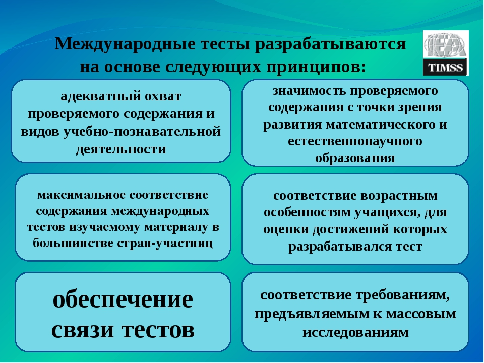 Международные тесты разрабатываются на основе следующих принципов: адекватны...