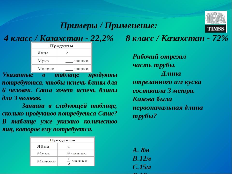 Примеры / Применение: 4 класс / Казахстан - 22,2% 8 класс / Казахстан - 72% У...