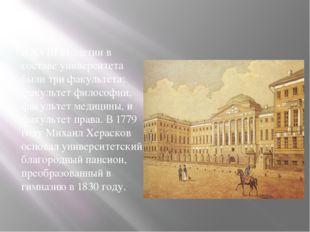 В XVIII столетии в составе университета были три факультета: факультет филос