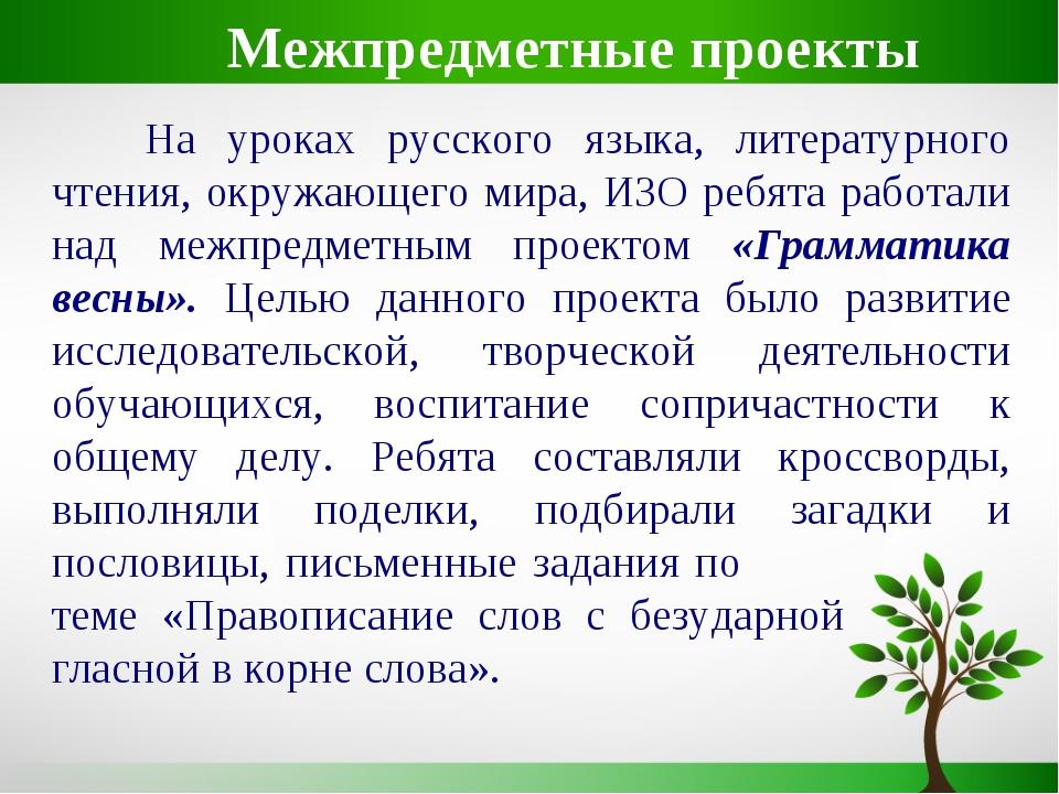 На уроках русского языка, литературного чтения, окружающего мира, ИЗО ребята...