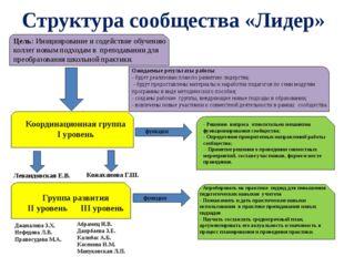 Структура сообщества «Лидер» Цель: Инициирование и содействие обучению колле