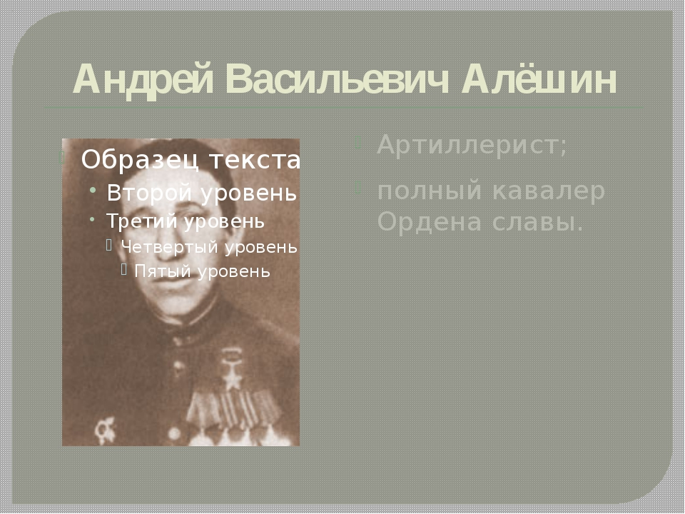 Андрей Васильевич Алёшин Артиллерист; полный кавалер Ордена славы.